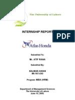 Atlas Honda Internship by Salman Awan