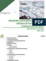 Memoria Descriptiva Operaciones Mina 2013 - Mina Iscaycruz