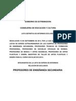 Lista extraordinaria de Interinos excluidos del Cuerpo de Profesores Enseñanza Secundaria 2013-14