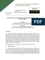 Optimization of the Welding Parameters in Resistance Spot Welding