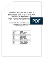 INFINITY BUSINESS SCHOOL BUSINESS STRATEGY GROUP PROJECT REPORT ON FAST FOOD INDUSTRY IN INDIA