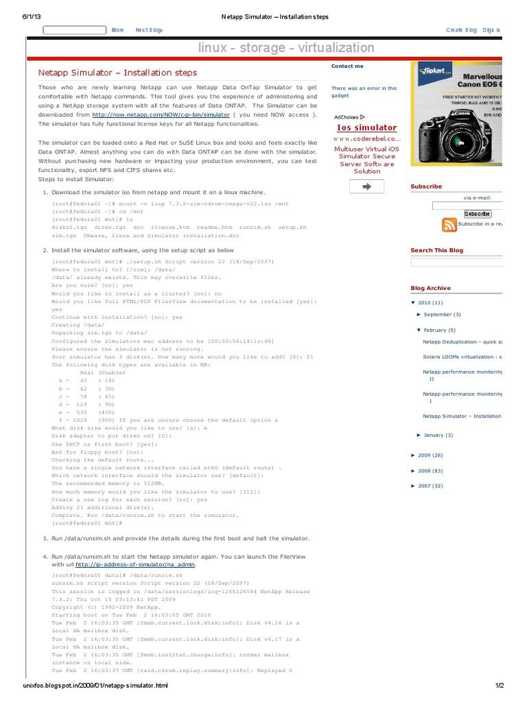Netapp Simulator – Installation steps ubuntu | Installation