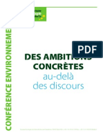 Propositions EELV conférence environnementale