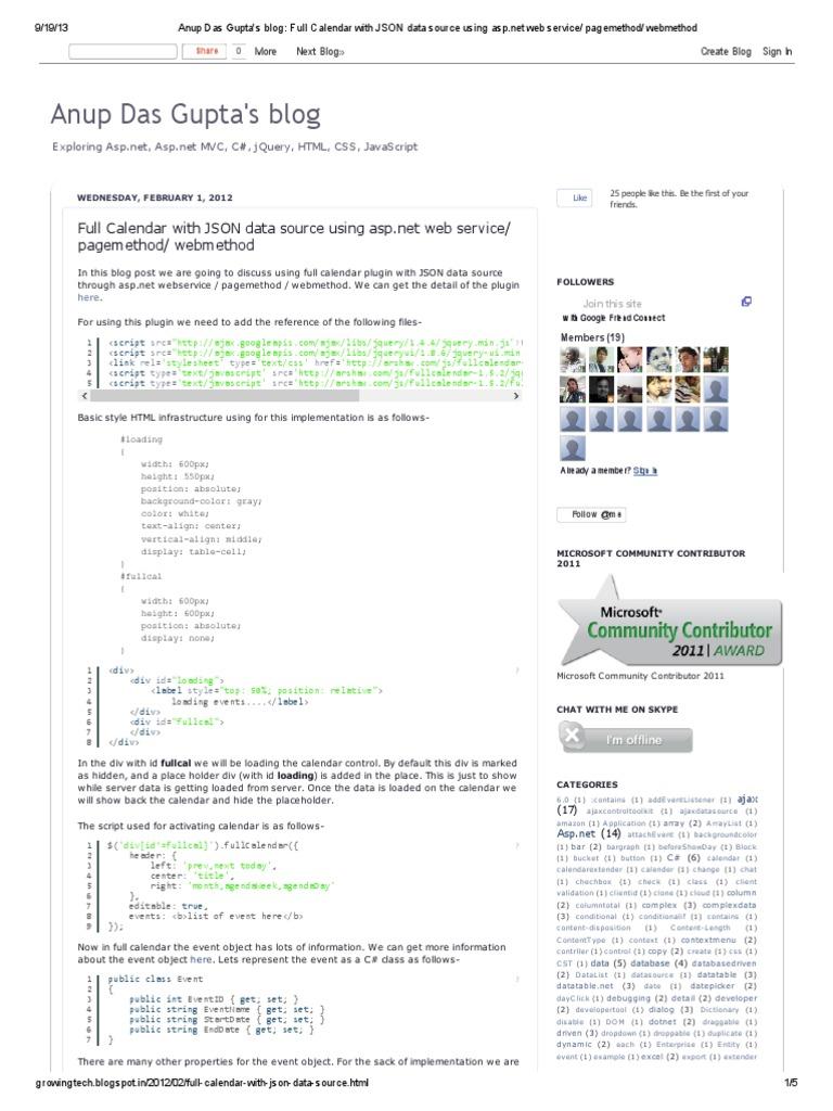 Event Calendar Js : Anup das guptas blog full calendar with json data source using asp