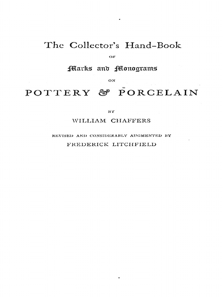 Hand Book Of Mark Pottery & Porcelain 1901