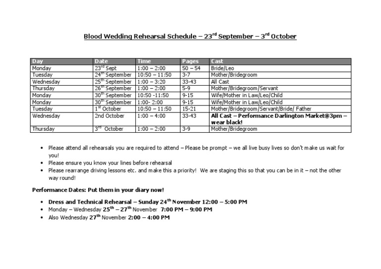 Blood Wedding Rehearsal Schedule 1