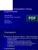 Program Evaluation Experimentation