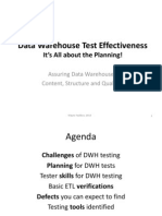 Data Warehouse / ETL Testing Effectiveness