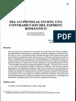 DEL YO PIENSO AL YO SOY  UNA CONTRADICCIÓN DEL ESPÍRITU ROMÁNTICO