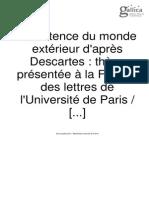 L'Existence Du Monde Exterieur d'Apres Descartes
