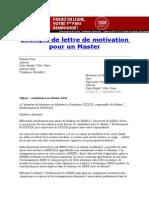 Exemple de Lettre de Motivation Pour Un Master