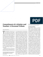 Commitment of a Scholar and Teacher a Personal Tribute