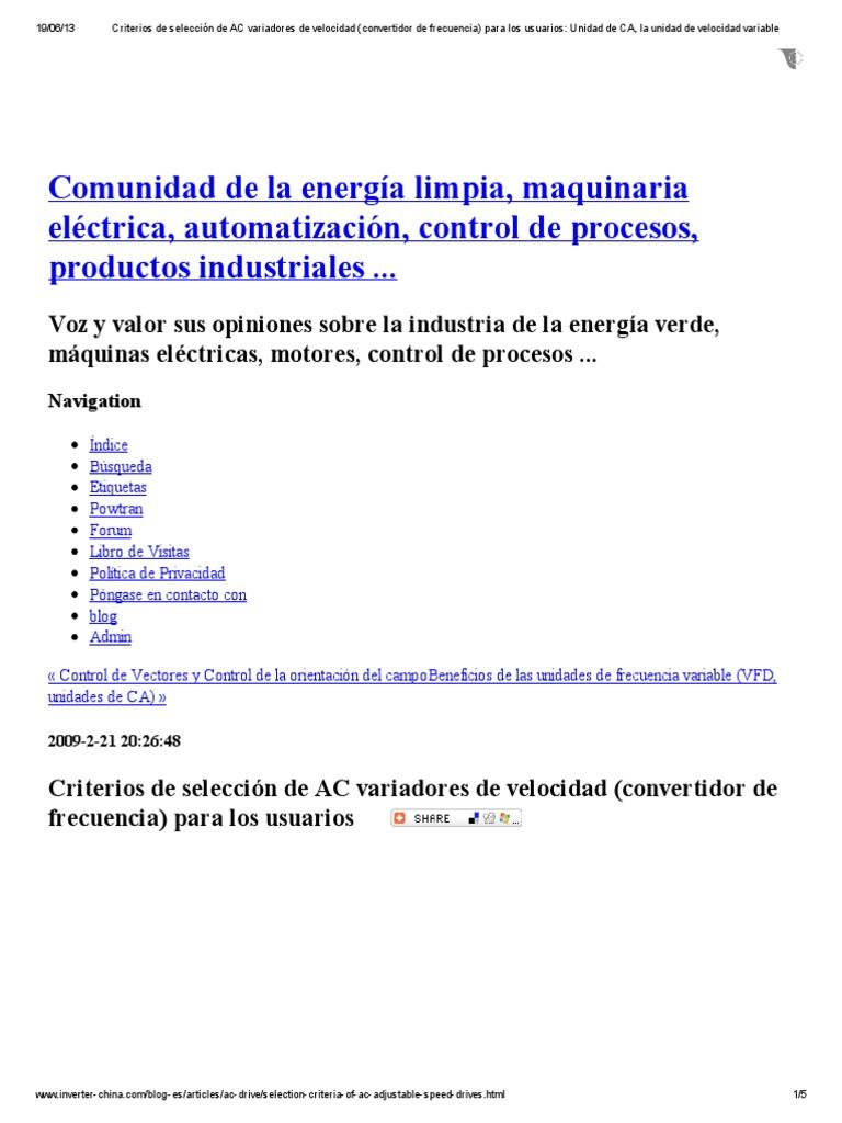 Criterios de selección de AC variadores de velocidad (convertidor de ...