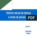 História natural da doença e níveis de prevenção.