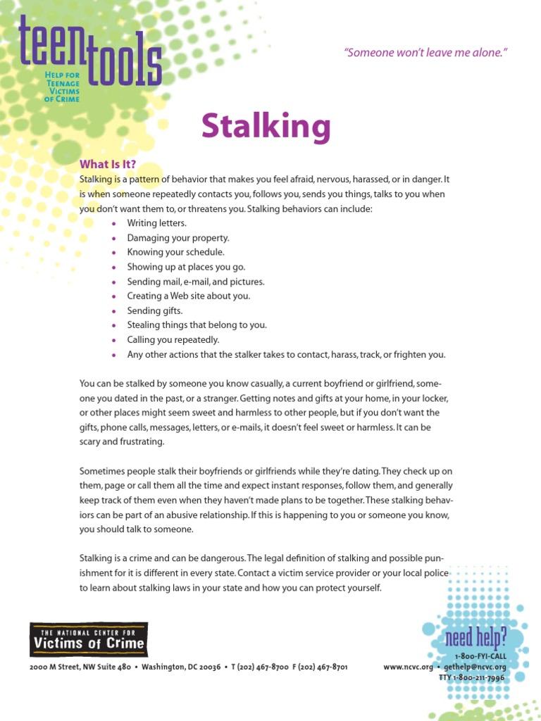 stalking - help for teenage victims of crime | stalking | harassment