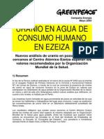 Uranio en Agua de Consumo Huma