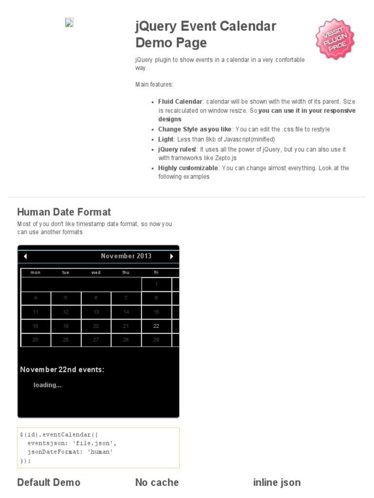 Event Calendar Js : Jquery event calendar demo page java script computing