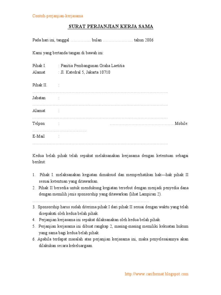 contoh perjanjian kerjasama sponsorship sederhana