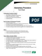 Parliamengentary Procedure Fact Sheet