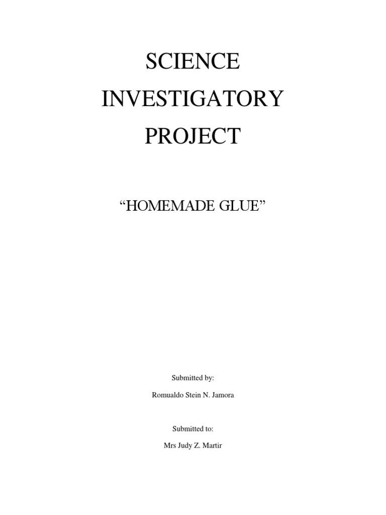 investigatory project on homemade gluedocx adhesive sodium bicarbonate