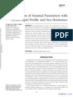 Correlation of Seminal Parameters With Serum Lipid Profile and Sex Hormones