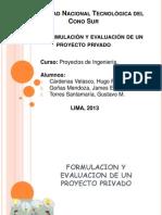 Formulación y evaluación de un proyecto privado
