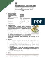Plan de Trabajo Del Club de Lectura 2013