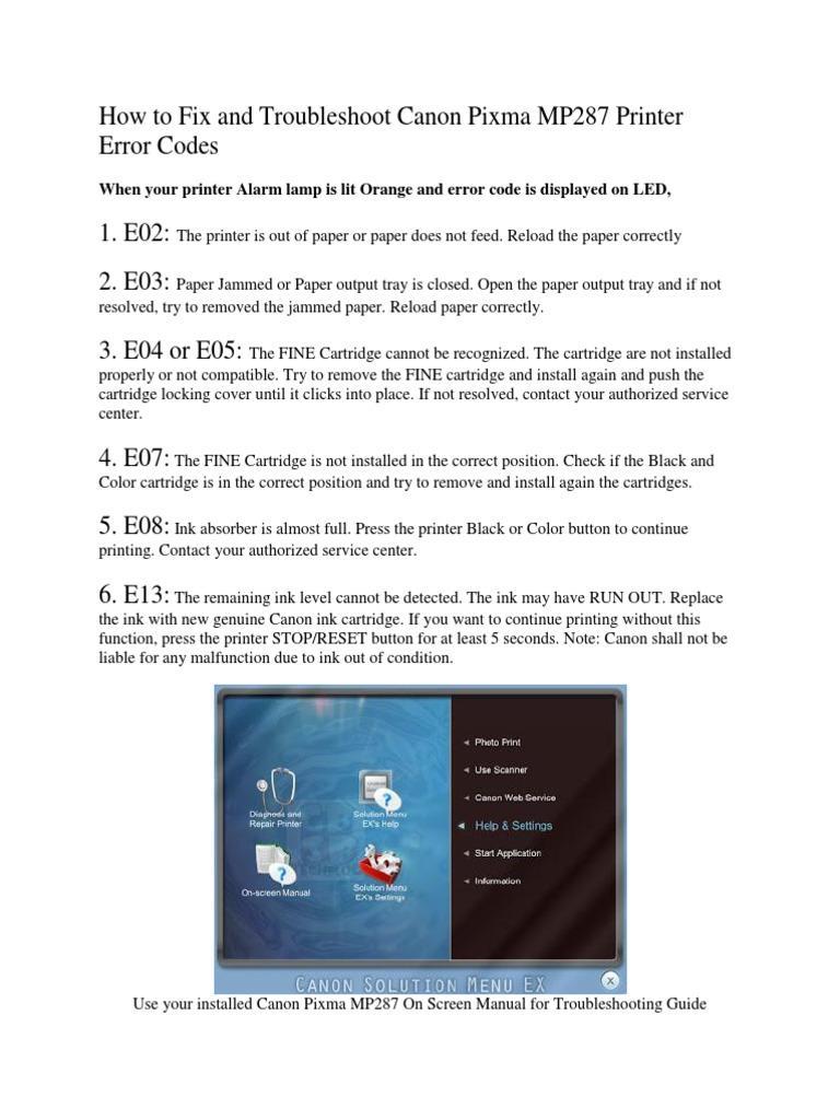 canon mp287 printer computing media technology rh es scribd com Reset Canon MP287 Canon MP287 Ink