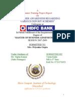 Customer Awareness Regarding Various Deposit Schemes Hdfc Bank_2011