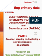 Lecture 7 Questionnaires Interviews & Observation