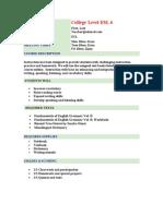 ESL 6 College Level  Course Outline Sample