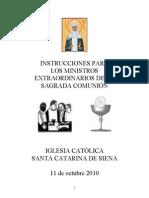 Instrucciónes por los Ministros de Sagrada Comunión (2010)
