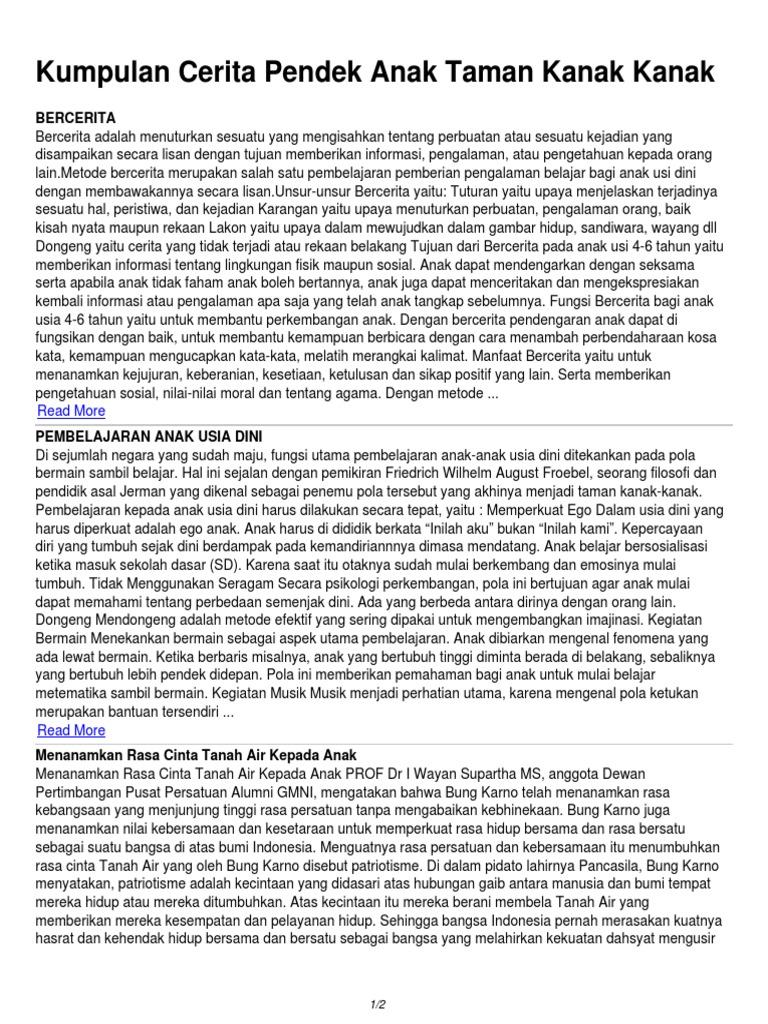Cerita Dongeng Pendek Kanak Kanak Brad Erva Doce Info