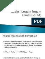 Reaksi Logam Logam Alkali (Gol IA)