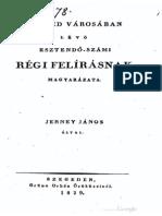 Jerney János - Szeged városában lévő esztendő-számi régi felirásnak magyarázata 1829.