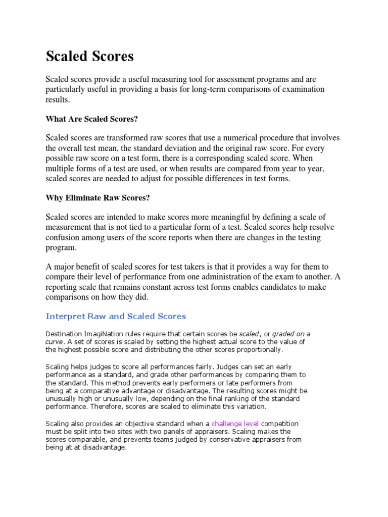 Scaled scores test assessment evaluation methods falaconquin