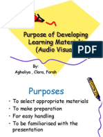 Purposes of Developing Audio Visual Learning Materials