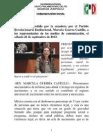 21-09-13 Entrevista a Senadora Marcela Guerra - Sobre Actas de Nacimiento