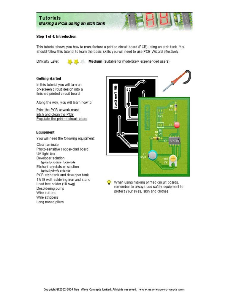 Tutoial 4 Making A Pcb Using An Etch Tank Printed Circuit Board Rigidflex Boards Osp Lead Free Soldering