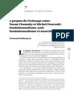 Àpropos de l'échange entre   Noam Chomsky et Michel Foucault -  fondationnalisme, antifondationnalisme et anarchisme