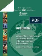 AICR WCR Alimentation Ejercicio Resumen Es