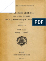 Catalogue de La BNF Auteurs Tome CLXXX 1952 OEUVRES de SWEDENBORG Emanuel