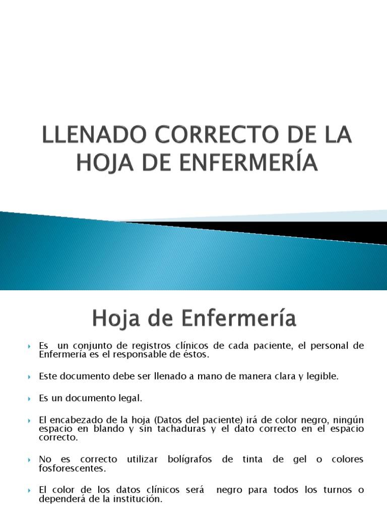 2.2 LLENADO CORRECTO DE LA HOJA DE ENFERMERÍA