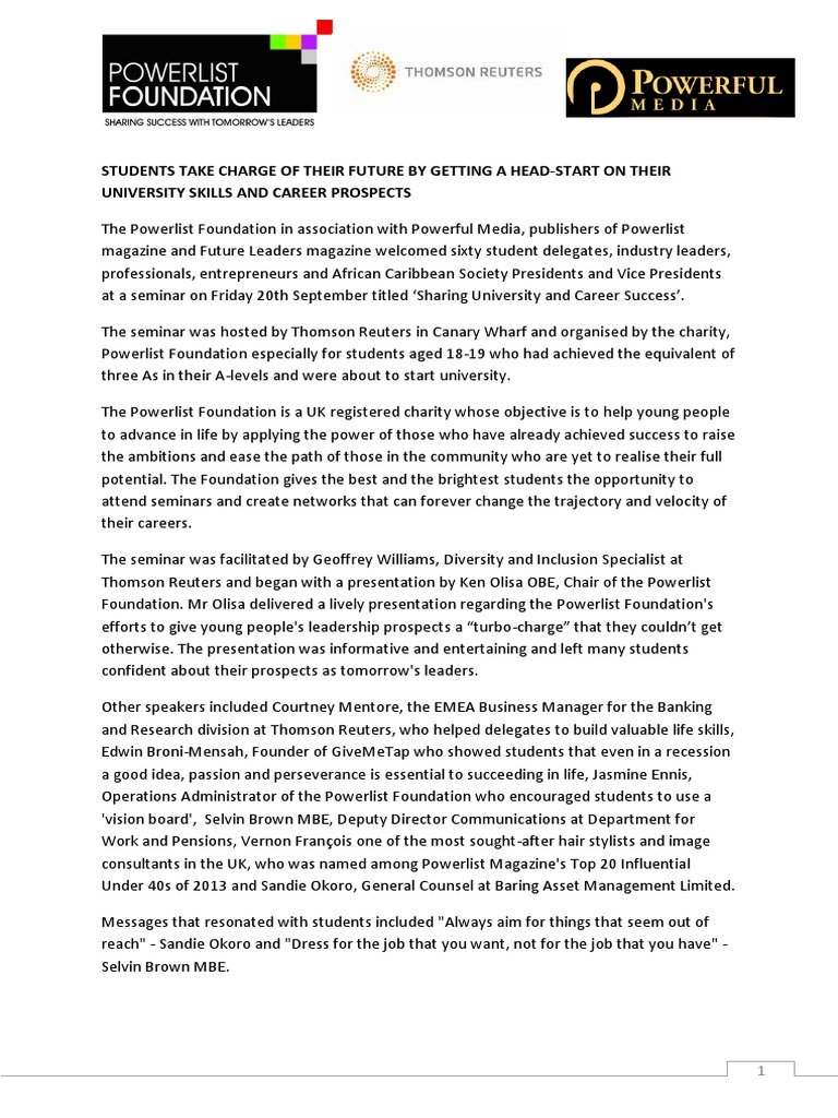 Press Release - Sharing University and Career Success
