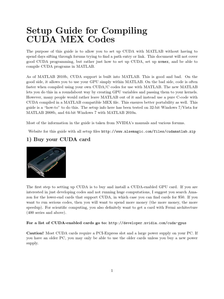 Setup Guide for Compiling CUDA MEX Codes | Graphics Processing Unit