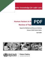 Faktor Yg Mempengaruhi Keselamatan Pasien Who 2009