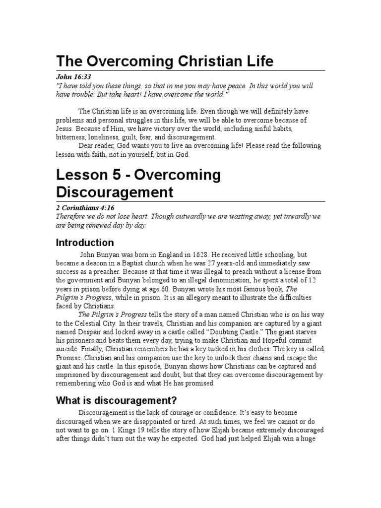 Overcoming Discouragement - Bible Study Lesson | The