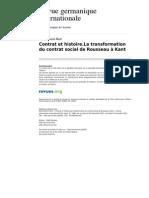 Contrat Et Histoire La Transformation Du Contrat Social de Rousseau a Kant