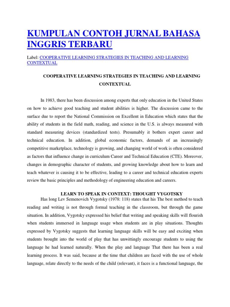 Kumpulan Contoh Jurnal Bahasa Inggris Terbaru Teachers Learning