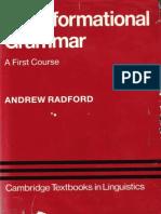 Andrew Radford Transformational Grammar a First Course Cambridge Textbooks in Linguistics 1988